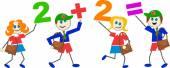 Cartoon math kids — Stock Vector