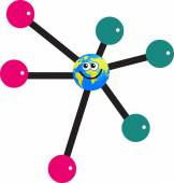 Molecule globe cartoon — Vecteur