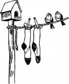 Two little birds sat resting on a washing line — Stockvektor