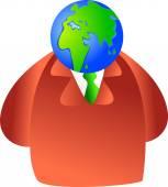 Man with the globe head — Vector de stock