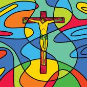 Stained glass effect cross of calvary — Stock Vector