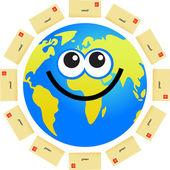 Email globe cartoon — Stock Vector