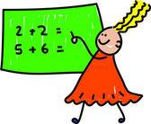 Math kid cartoon — Stock Vector