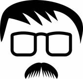 Mans hair, spectacles and mustache — Stock Vector