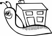 Cartoon snail carrying it's home — Cтоковый вектор