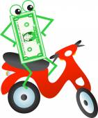 Scooter dollar cartoon — Stock Vector