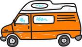 Funny  cartoon camper van. — Stock Vector