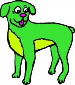 A Green Cartoon Dog — Stock Vector