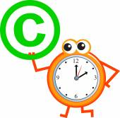 Copyright sign and clock — Stock Vector