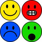 Set of colourful smilie emoticons — Stock Vector