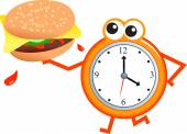 Fast food and Clock concept — Stock Vector