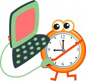 Alarm clock icon and laptop — Stock Vector