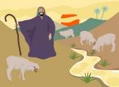 Jesus the Good Shepherd who takes care of His sheep. — Stock Vector