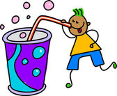 Boy drinking a soda or shake from straw — Stock Vector