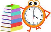 Book literature with clock — Stock Vector