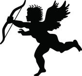 Black silhouette of a cupid shooting arrow — Stockvector