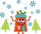 Christmas house cartoon — Stock Vector