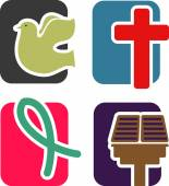 Icons on the theme of Christianity and faith. — Vector de stock