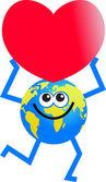 Love globe cartoon — Stock Vector