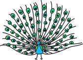 Peacock illustration — Stock Vector