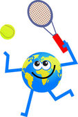 Tennis globe cartoon — Stock Vector