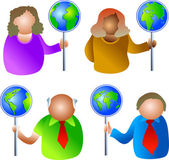 People with global signs — Vector de stock