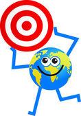 Target globe cartoon — Stock Vector