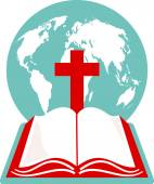 Globe of the world with the cross of calvary and a Holy Bible — Cтоковый вектор