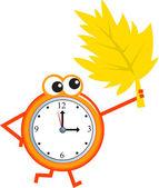 Alarm clock in autumn leaves — Stock Vector
