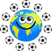Soccer globe cartoon — Stock Vector