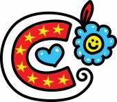 Whimsical Cartoon Alphabet Letter — Stockvektor