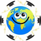 Graduation globe cartoon — Stock Vector