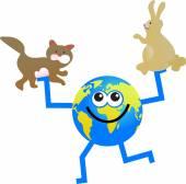 Pet globe cartoon — Stock Vector