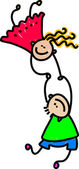 Niños felices mano — Vector de stock