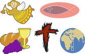 Cartoon angel, and icthus fish symbol — Wektor stockowy