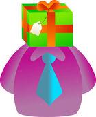 Man with the gift face — Vector de stock