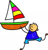 Little boy holding a large toy boat. — Stock Vector