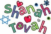 Simple hand drawn doodle text  - SHANAH TOVAH — Stock Vector