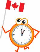 Clock with a flag of Canada — Stock Vector