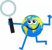 Magnify globe cartoon — Stock Vector