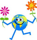 Flower globe cartoon — Stock Vector