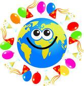 Party globe cartoon — Stock Vector