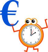 Clock face with blue euro currency sign. — Stock Vector