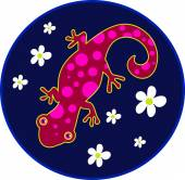 Spotty Lizard with flowers — Stock Vector
