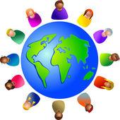Diverse world around the globe — Stock Vector