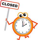 Closing time clock cartoon — Stock Vector