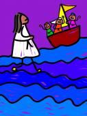 Jesus walks on water — Stock Vector