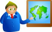 Man with global-presentation — Vector de stock