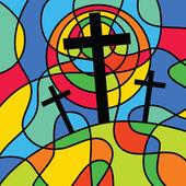 Christian calvary cross scene — Stock Vector