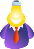 Man and Bulb head — Stock Vector